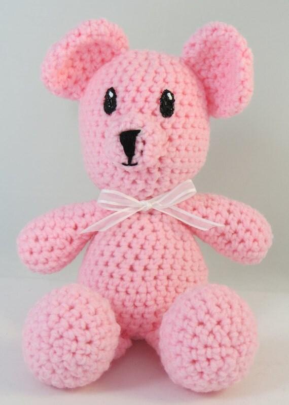 Amigurumi Pink Bear : Handmade teddy bear Pink Amigurumi Bear Crochet bear