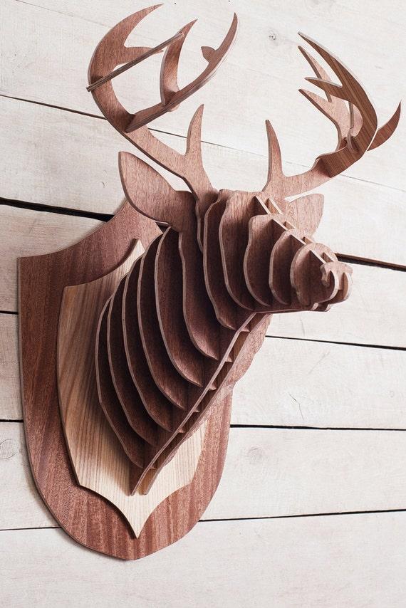 T te de cerf en bois puzzle 3d taxidermie animaux cerf t te - Tete de cerf en bois ...