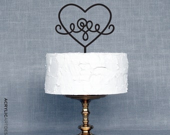 Heart Cake Topper Laser Cut, for Weddings by AcrylicArtDesign