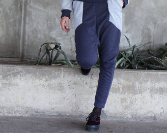 Womens sweatpants  with pockets - dark blue terry / Cotton baggy pants/ Sporty trend pants/100% cotton/ Vegan/ Gift for her