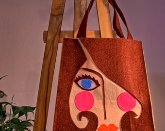 Pretty girl felt bag - Free Shipping