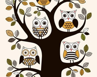 Giclee print of five owls on a tree - wall art decor