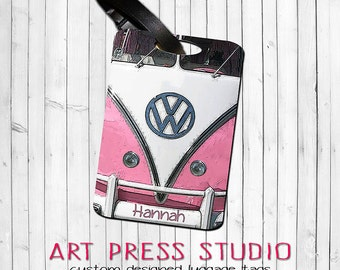 VW Van Personalized Luggage Tag, Retro Camper Bag Tag, 6 Colors, Personalized Luggage Tags