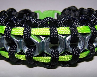 Black and Lime Green Hex Nut Paracord Bracelet