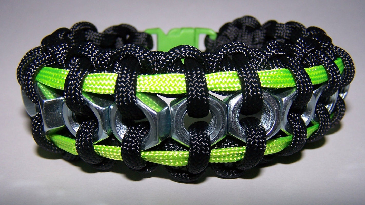 hex nut paracord bracelet black and lime green hex nut paracord bracelet by paracord1110