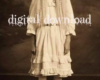 SALE Instant PRINTABLE digital Download  GYPSY Vampire Ghost Bohemian  Rare photo  Vintage victorian little girl