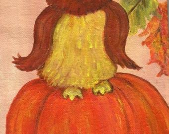 Owl painting,pumpkin art, leaves, Fall woodland decor, 6 x 8 on canvas panel, acrylics painting canvas art, whimsical owl bird art