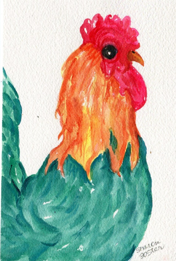 Green Rooster Watercolors Paintings Original, Turquoise Chicken Art, original watercolor painting of colorful rooster, kitchen decor 4 x 6
