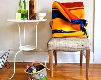 Thick Wool Blanket Classic Stripes Blue & Rust on Marigold Yellow Merino Crocheted Edge