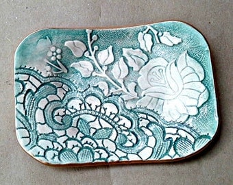 Ceramic  Jewelry holder Trinket Dish soap dish Sea Green edged in gold