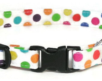 Cat Collar - Rainbow Dots - Breakaway Safety Cute Fancy Cat Kitten Collar