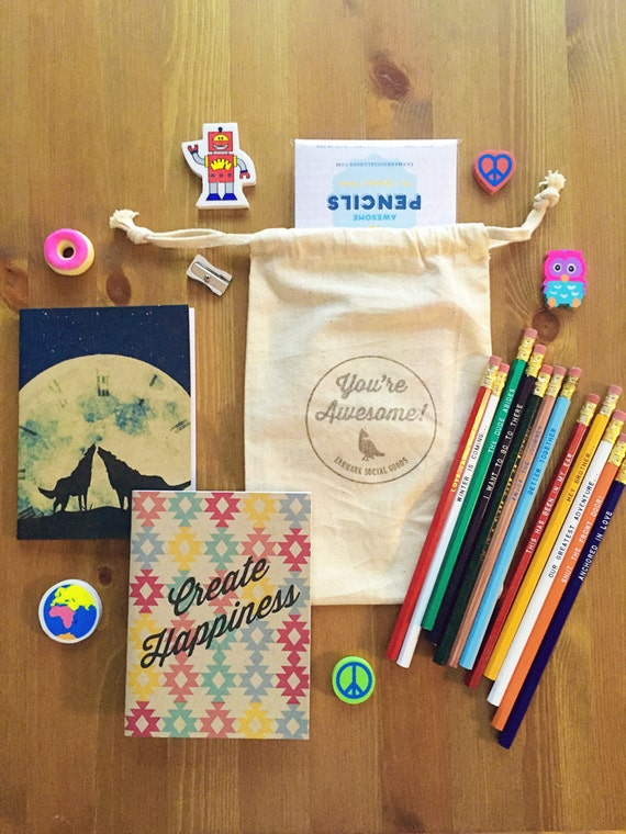 Awesome Gift Set - 2 Notebooks, 12 Pencils, 1 Eraser, 1 Sharpener, great gift, gifts for friends, gifts for teachers, gifts under 25