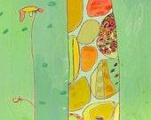 Grow Giraffe Canvas Print by Jennifer Mercede 48X12