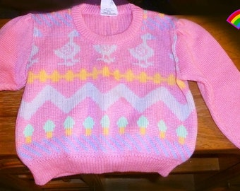 Vintage Toddler Baby Girl Pink Popsicle Sweater
