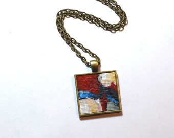 Art Pendant Necklace , FREE Shipping, Yellow, Blue, Abstract Painting, Original Painting - Wearable Art - Red Necklace - Handpainted Pendant