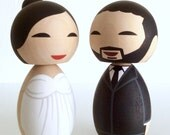 Wedding kokeshi doll cake topper set. Fully customizable.