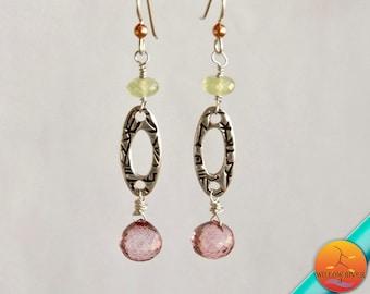 Women's Luxury Pink Quartz Sterling & Fine Silver Dangle Earrings, Handcrafted Fine Silver on sterling ear wires