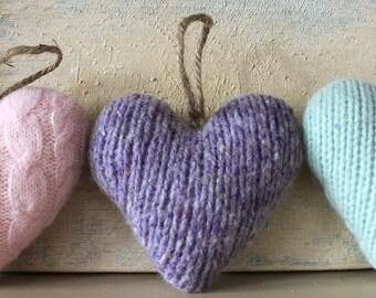 Lavender Valentine's Heart Ornament, Valentine's Day Ornament, Valentines Decor, Valentines Heart