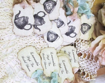 Alice Tea Party Tags Vintage Teapots & Teacups Parchment Favor - Double Sided Customized - Set of 18 - Choose Ribbons - Mad Tea Party Shower