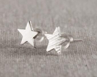 Sterling silver stars stud earrings, Dainty star earrings, Tiny silver star earrings, Silver studs, Star stud earrings