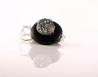Grey Druzy Earrings; Artsy Handcraft Black Stone and Druzy earrings wire wrapped in sterling silver; Bling Clubbing Short Dangle Earrings