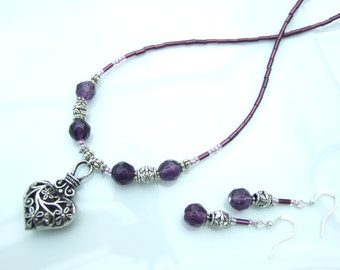 SET - Purple & Silver Filigree Heart Pendant Necklace and Earrings