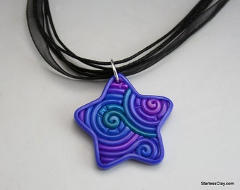 Fimo Star Necklace in Jewel Tone Filigree