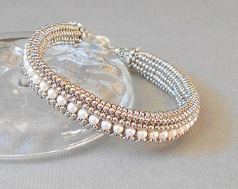 white pearl bracelet silver seed bead bracelet beaded bracelet wedding bracelet bridesmaid bracelet stackable bracelet