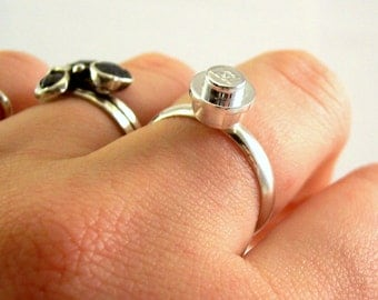 CHROME Studs OR Ring - Sterling Silver Plated Backs