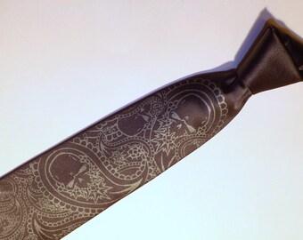 Mens Paisley Skull tie design Dark gray necktie Black Pearl skulls