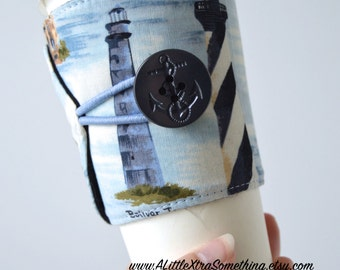Lighthouse Adjustable, Tapered Cup Cozy w/Anchor Button for hot OR cold drinks ~ READY to SHIP
