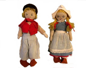Reserved for Kate - Dutch boy and girl dolls - Handmade folk art -  1940s - 14 inches tall