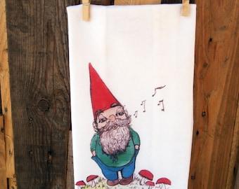 gnome tea towel, gnome dish cloth, dish towels, gnome towel,
