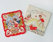 Two 1930s Valentine's Day Cards with Boys and Girls at the Seashore Building Sand Castles, Beach, Seashells