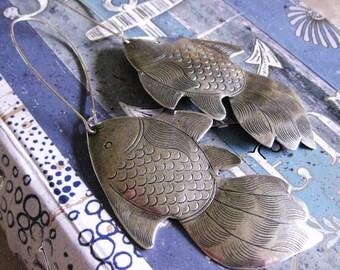SILVER FISH EARRINGS Fish jewelry dangle earrings big fish earring silver earrings Pisces koi earrings nautical jewelry sea earrings