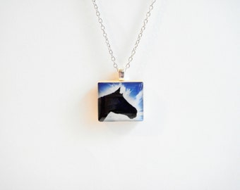 Your Custom Photo Jewelry Scrabble Necklace Personalized Picture Jewelry Mothers Day Photo Necklace Custom Photo Jewelry Equestrian Lover