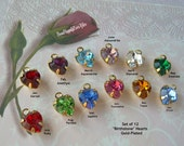 Swarovski Birthstones GOLD-Plated Heart Charms 12 Rhinestone Drops