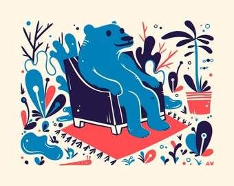 Blue Bear Screenprint - Bear Print 8x10