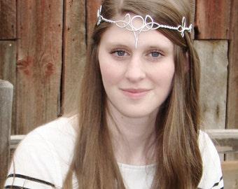 Celtic Trinity Moon Circlet - Choose Your Own COLOR - Elven Crown Tiara Headdress