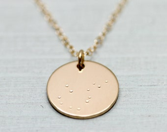 Constellation necklace - constellation jewelry - gold necklace - astrology jewelry - orion necklace - gold jewelry disc - orion star sign