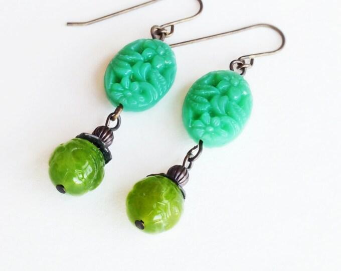 Jade Green Earrings Vintage Carved Resin Floral Beads Green Floral Jewelry Green Flower Green Dangles