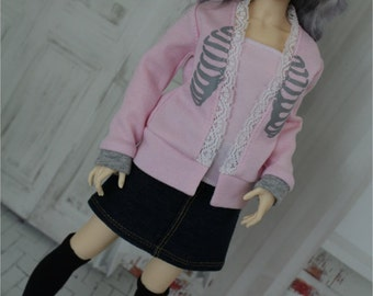BJD Cardigan Sweater for Minifee, Pink with Grey Rib Bones, 1/4 Size Doll Clothes MNF Pastel Goth