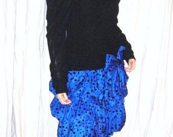 Vintage I.Magnin Evenings by Pantagis Black Blue Polka Dot Poof Dress 6
