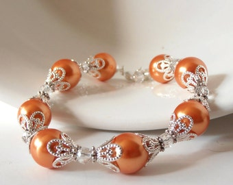 Orange Pearl Bracelet, Tangerine Bridesmaid Wedding Jewelry Sets, Beaded Bridal Party Handmade Gift, Adjustable, Choose Your Color