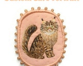 Custom Cat Portrait Personalized. Cat Brooch. Hand embroidered textile pet jewelry