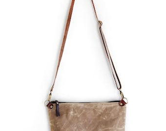 Waxed Canvas Day Bag Purse in Tan with Brown Leather