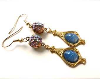 """Blue Charm Gemstone Dangle Earrings - """"Genie in a Bottle"""" - Mid Century Fifties Old Hollywood Vintage Inspired Glamour Gold Hypoallergenic"""
