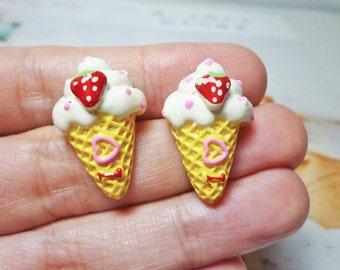 SALE - Sweet Strawberry Ice Cream Earrings