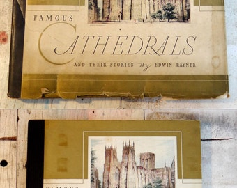 Antique early 1900s Famous Cathedrals and Their Stories Edwin Rayner Grosset & Dunlap color prints lithographs travel ornate gold leaf book