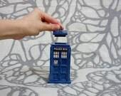Mini TARDIS Ceramic Jar: little blue box container Made-to-Order